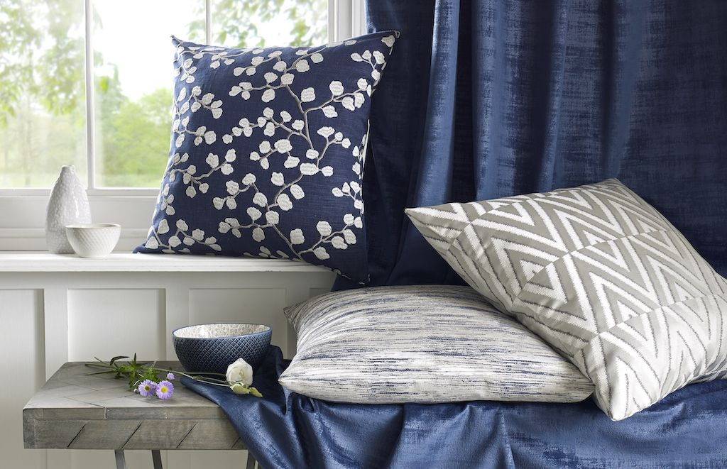 Made To Measure Curtains And A Selection Of Cushions In Bella Ink Taylor Ink And Maya Oyster Fabric From Living Room Decor Inspiration Trending Decor Interior