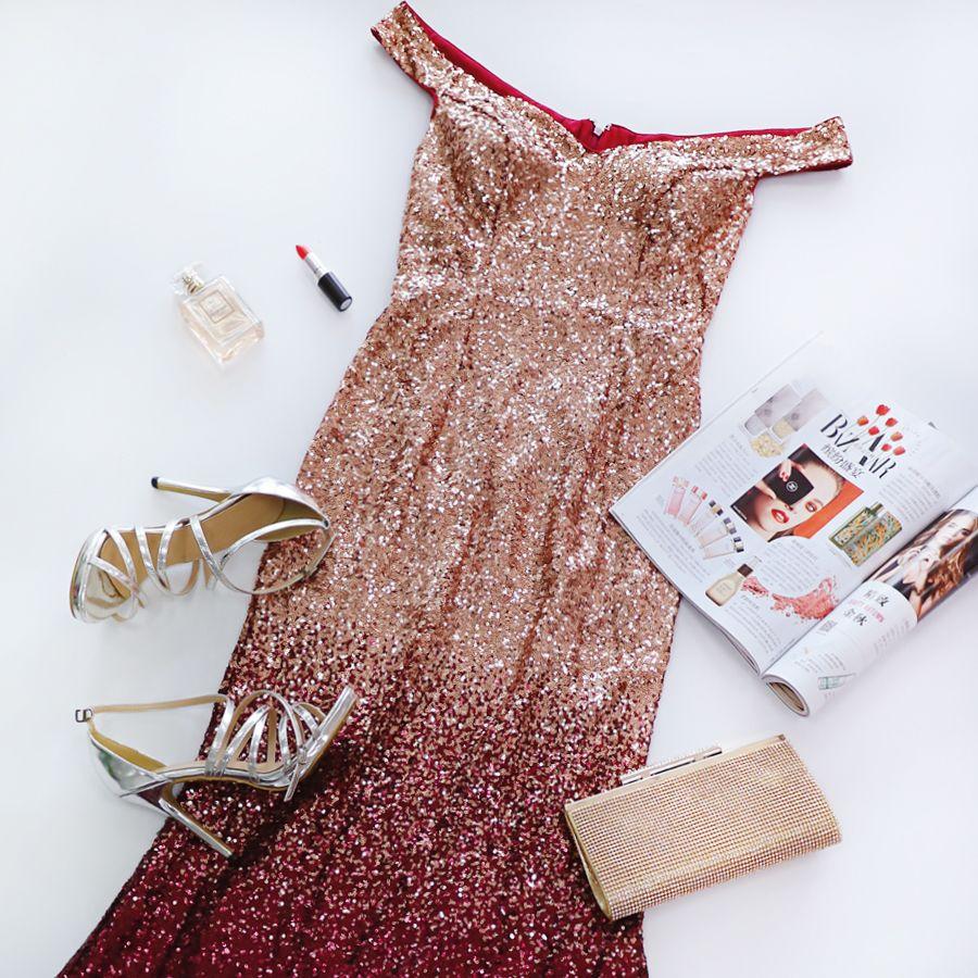 3ee02bfd89 Love Sparkles Off Shoulder Floor Length Sequins Evening Gown #eveningdress  #EverPretty #sequindress #sequindresses #eveningdresses
