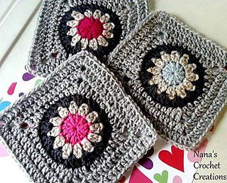 "Nana's ""Retro Flower In A Circle In A Square"" (7"") - free crochet pattern by Nana's Crochet Creations. https://www.facebook.com/notes/nanas-crochet-creations/nanas-retro-flower-in-a-circle-in-a-square-pattern/712746935477041"
