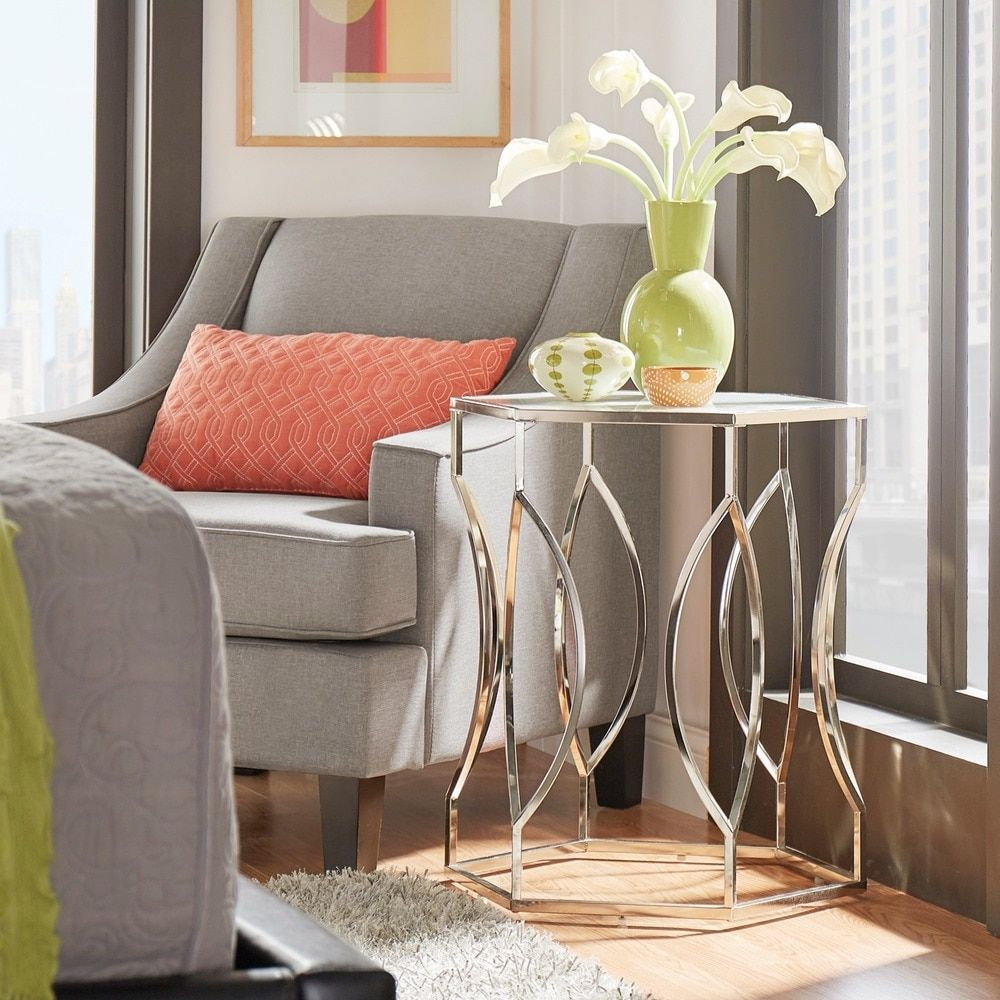 Davlin Hexagonal Metal Frosted-glass Accent End Table by INSPIRE Q
