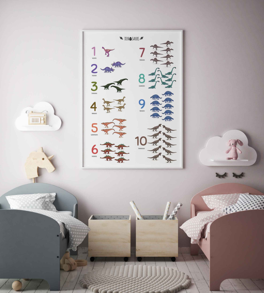 Dinosaurs counting numbers educational poster Vertical | Etsy