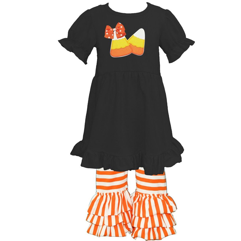Applique Candy Corn Ruffled Knit Pant Set PRE-ORDER