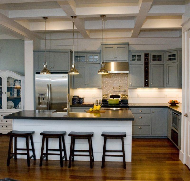 Cuisine gris et bois en 50 mod les vari s pour tous les for Hotte industrielle cuisine