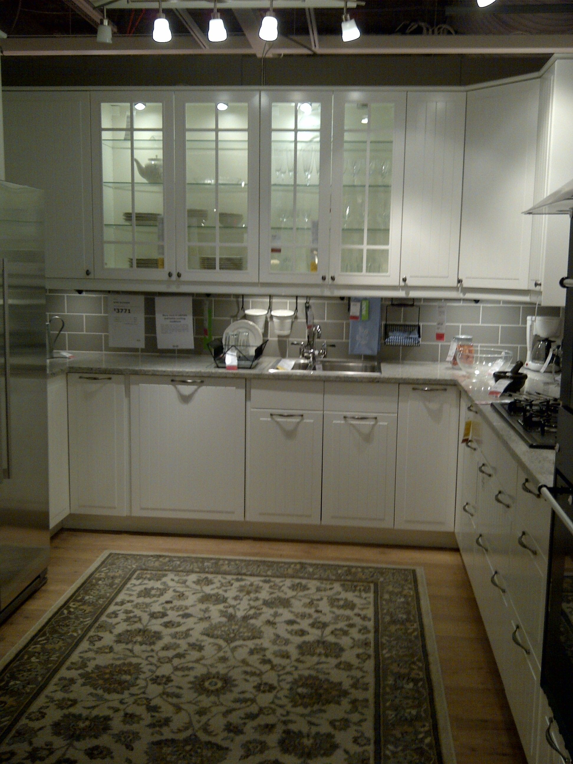 Ikea Kitchen Display Stat In White Lights In The Glass Door