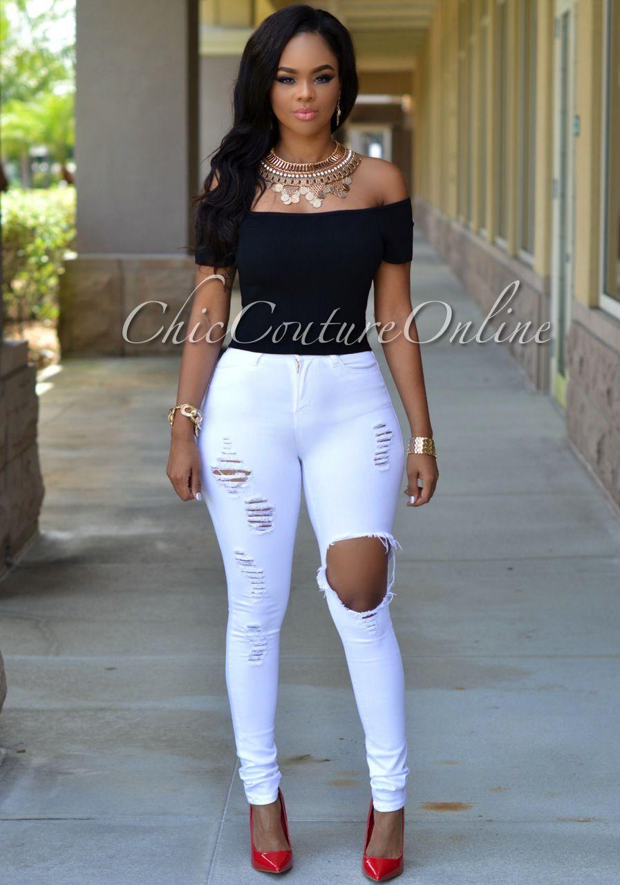 286bf4f7774 Evinna White Destroyed Denim Jeans in 2019