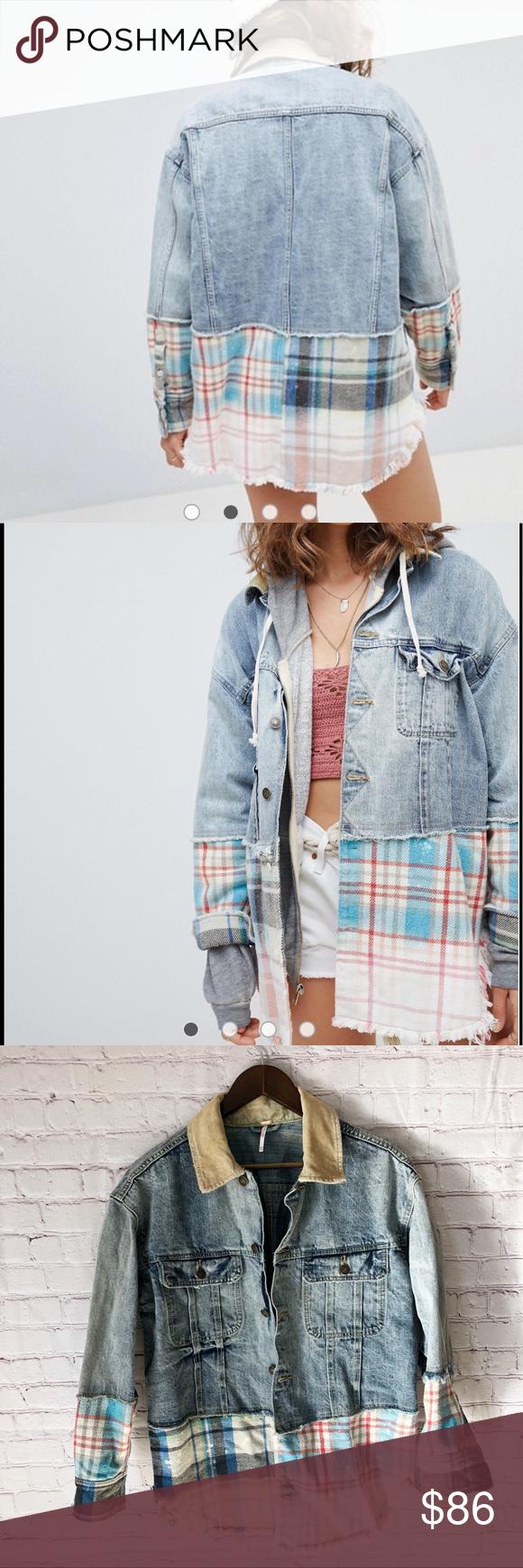 Free People Flannel Jean Jacket Flannel Jeans Oversized Denim Jacket Jackets [ 1740 x 580 Pixel ]