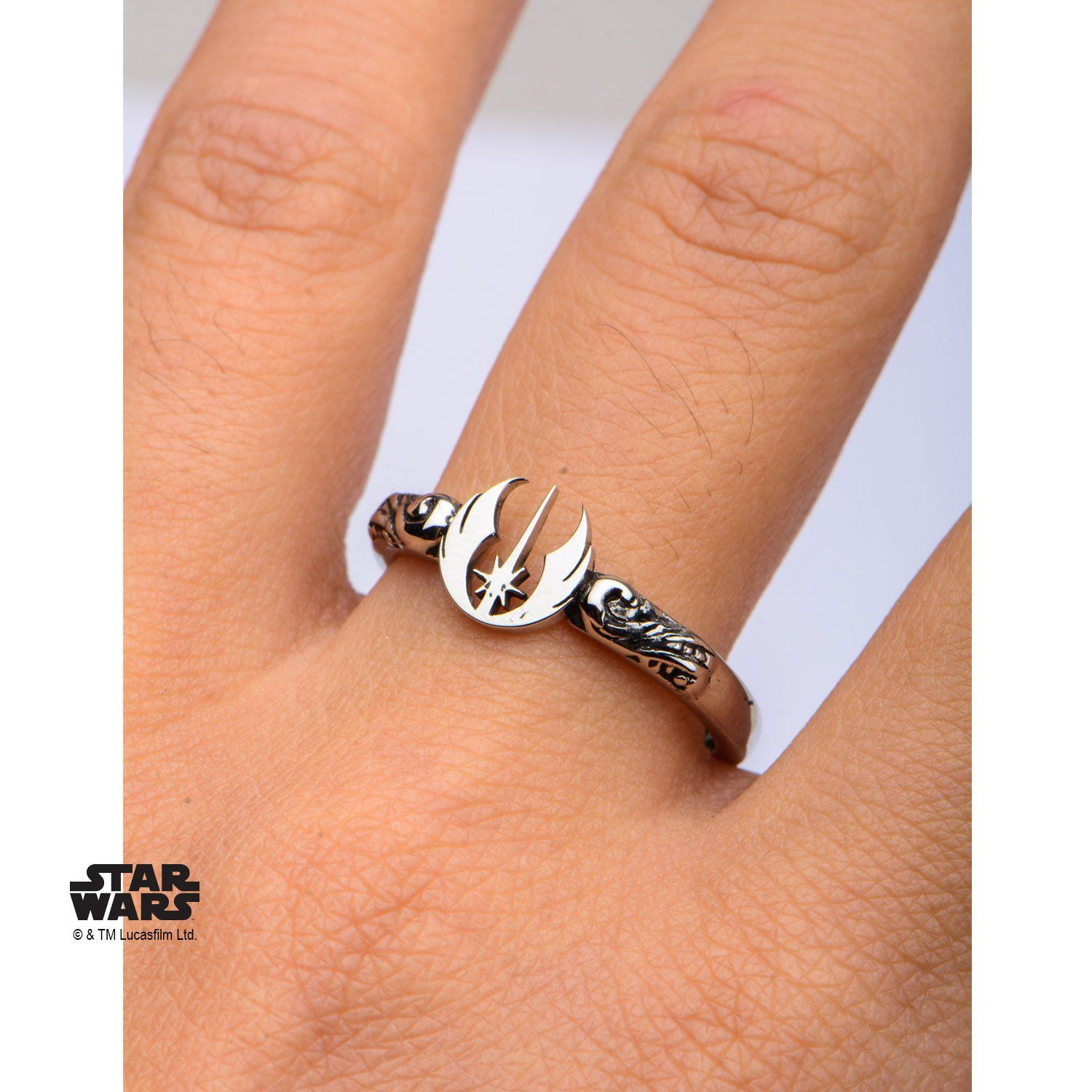 Women s Stainless Steel Star Wars Jedi Symbol Cut Out Ring Size 6