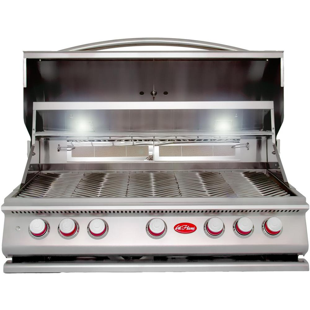 Cal Flame 5 Burner Built In Stainless Steel Propane Gas Grill With Rotisserie Bbq19p05 Cal Flame Propane Gas Grill Built In Grill