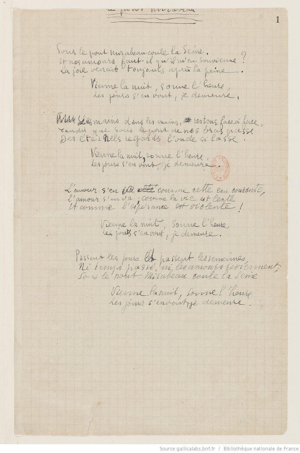 Apollinaire Apollinaire Sept Poèmes Dalcools Manuscrits
