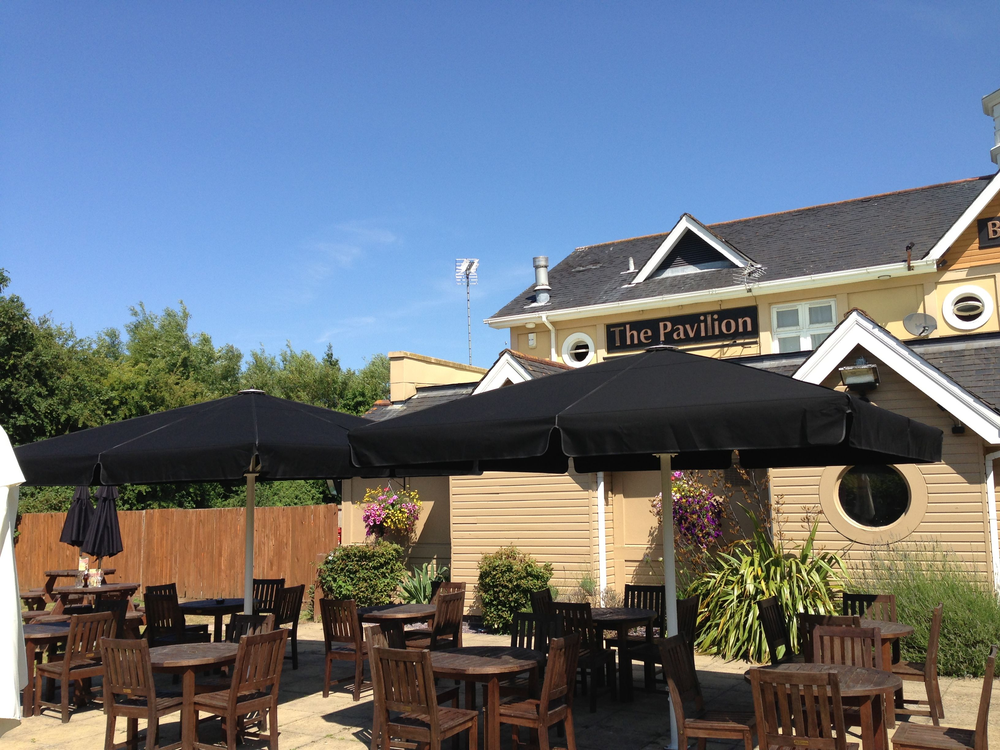 Brand new giant umbrellas at Beefeater Pavillion see