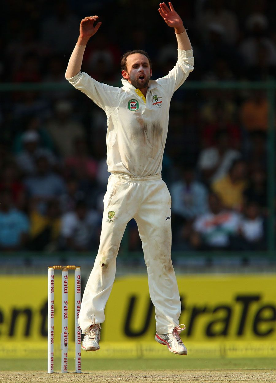 Nathan Lyon (Aus) 9 wickets, appeals, vs India, 4th Test, Delhi, 2nd day,  March 23, 2013 | V australia, India, Wicket