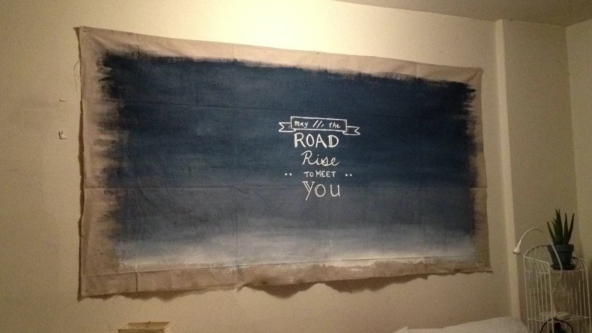 DIY canvas tapestry. Made this from cheap canvas drop cloth from ... 46abed0e5780