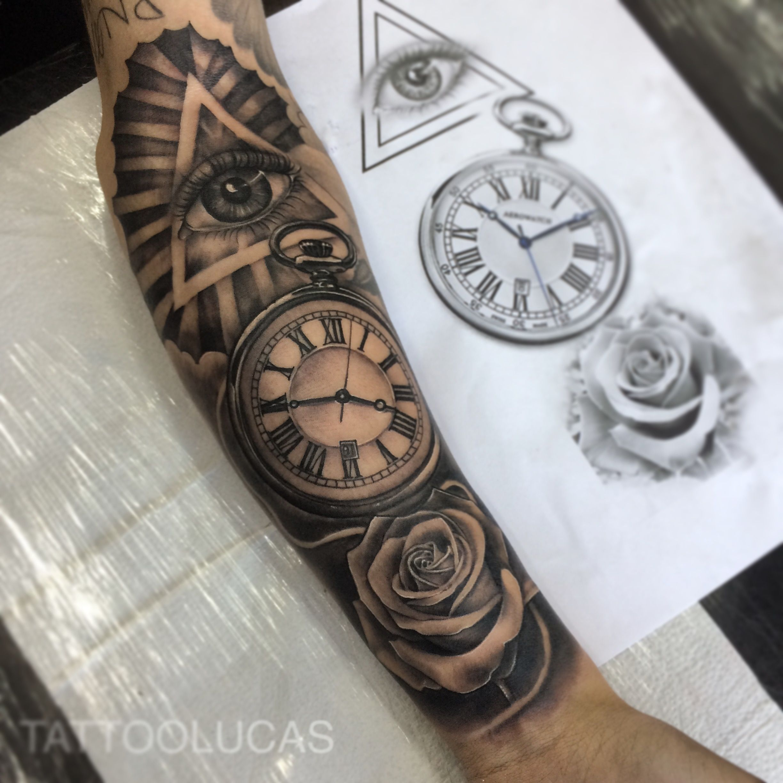 Eye And Multiple Clock Tattoo: Eye Clock Rose By @tattoolucas