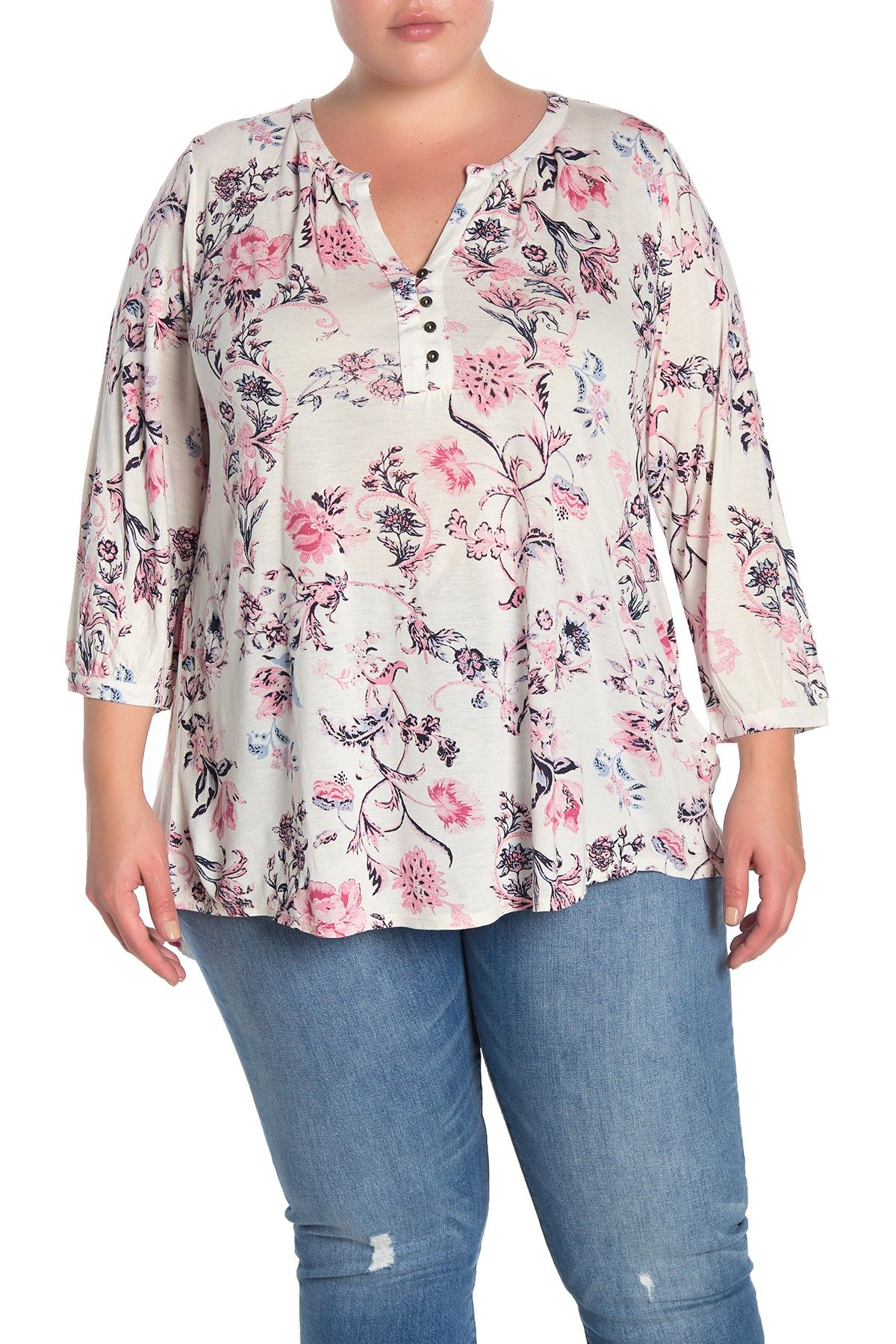 plus size blouses floral knit lucky brand