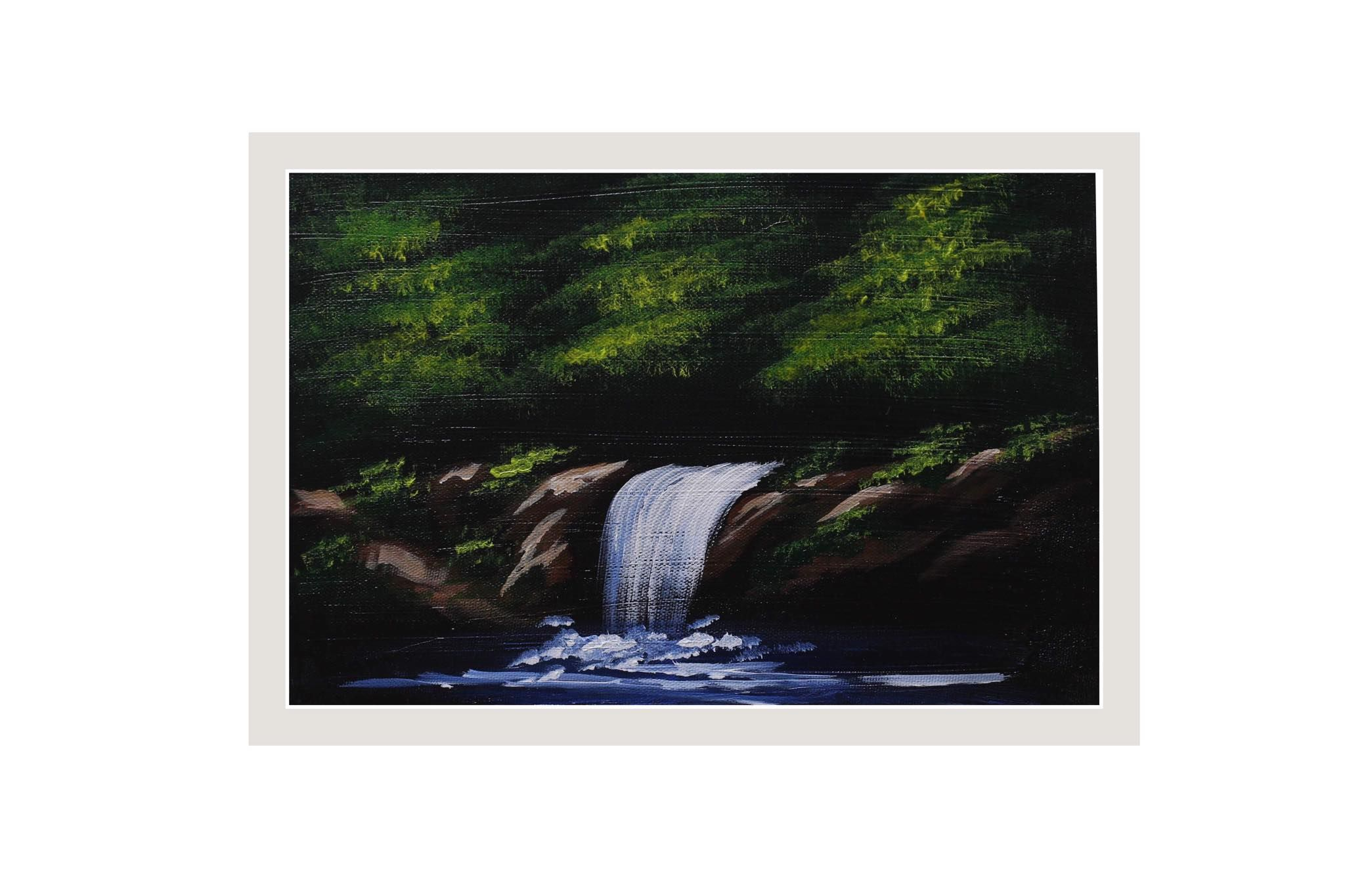 Waterfall Pines Waterfall Paintings Landscape Paintings Bob Ross Paintings