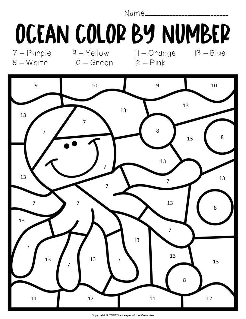 Free Printable Color By Number Ocean Preschool Worksheets Kindergarten Colors Free Preschool Worksheets Preschool Worksheets [ 1056 x 816 Pixel ]
