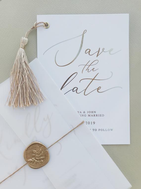 Gold tassel save the date  wedding save the date  wedding invitation  tassel invitation special occasion invite  gold foil invitation