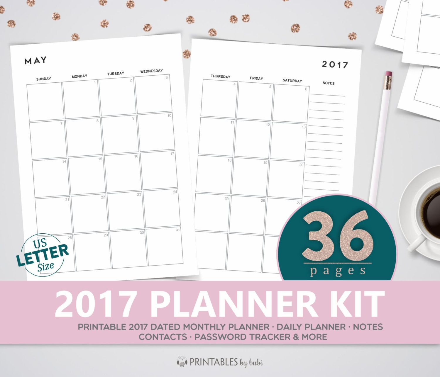 printable planner 2017 letter size planner pages monthly planner