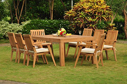 Outdoor Living Teakstation 8 Seater Grade A Teak Wood 9 Pc Dining