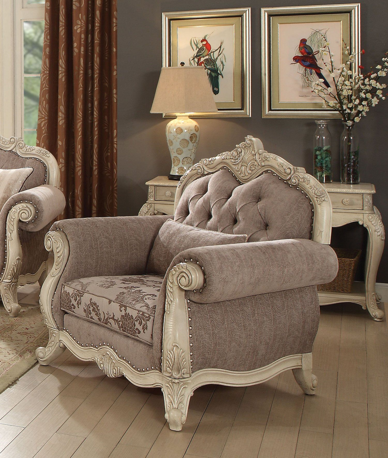 Acme Ragenardus Antique White Chair In 2020 Furniture