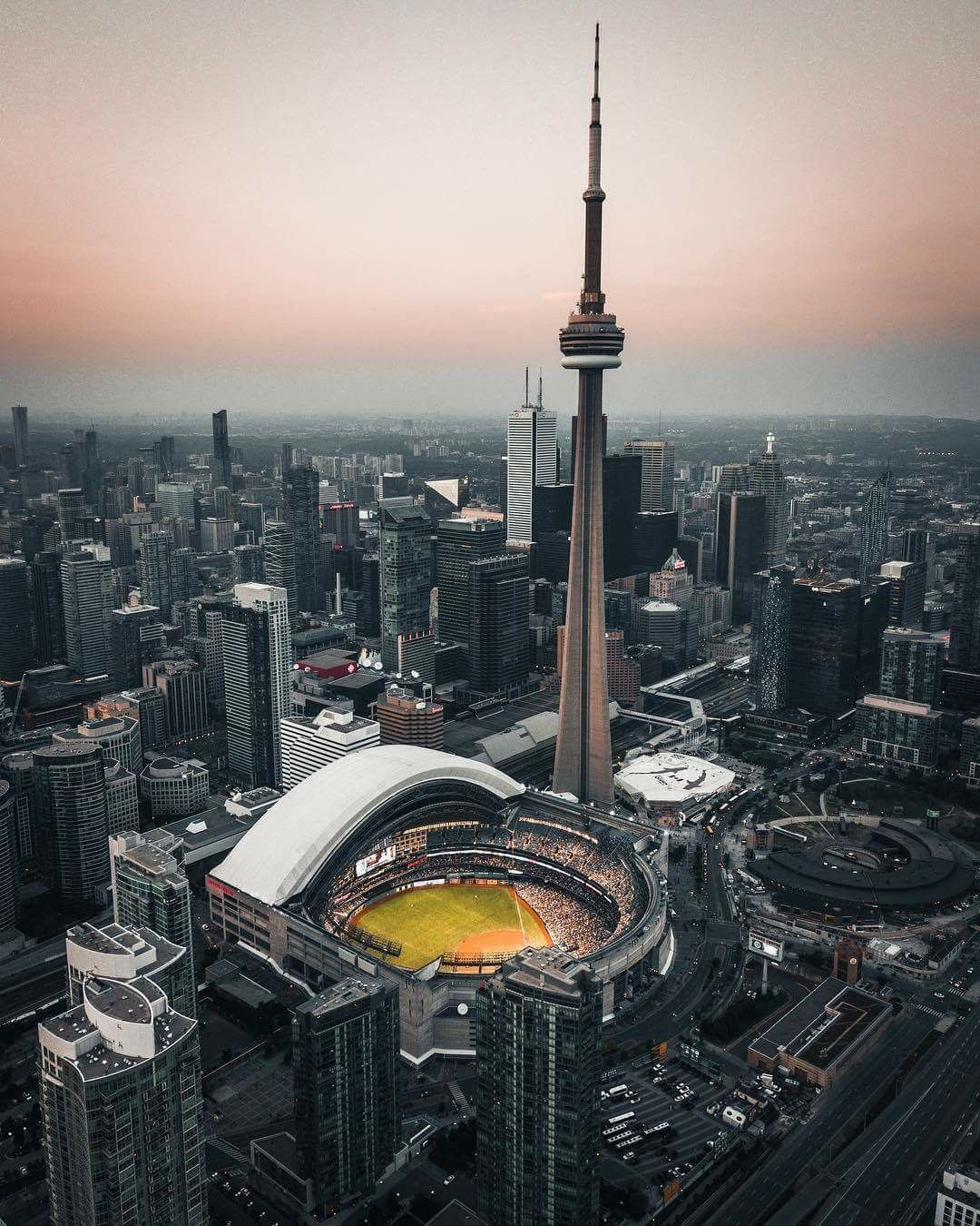 Toronto With The Sky Dome Open For A Toronto Blue Jays Baseball Game Canada City Toronto City Canada Photography