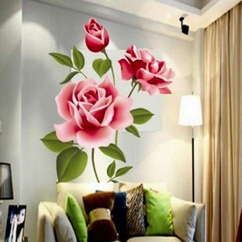 Romantic Love 3D Rose Flower Wall Sticker Home Decor Living Room Bedroom  Flower Shop Decals Motheru0027s