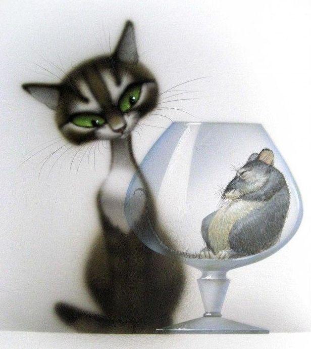 Рисунок кошка смешные, марко