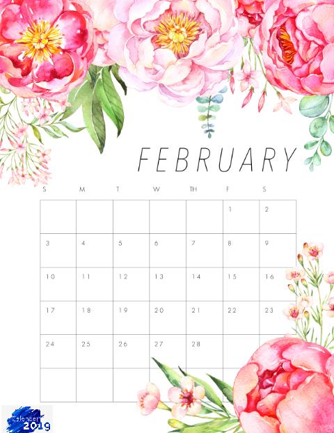 February 2019 Calendar Floral Floral February 2019 Calendar | Blank February 2019 Calendar