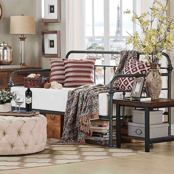 TRIBECCA HOME Giselle Antique Graceful Lines Iron Metal Daybed ...