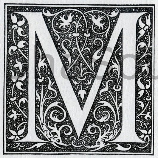 French letter M 600 DPI image scan from a 1920's French ...