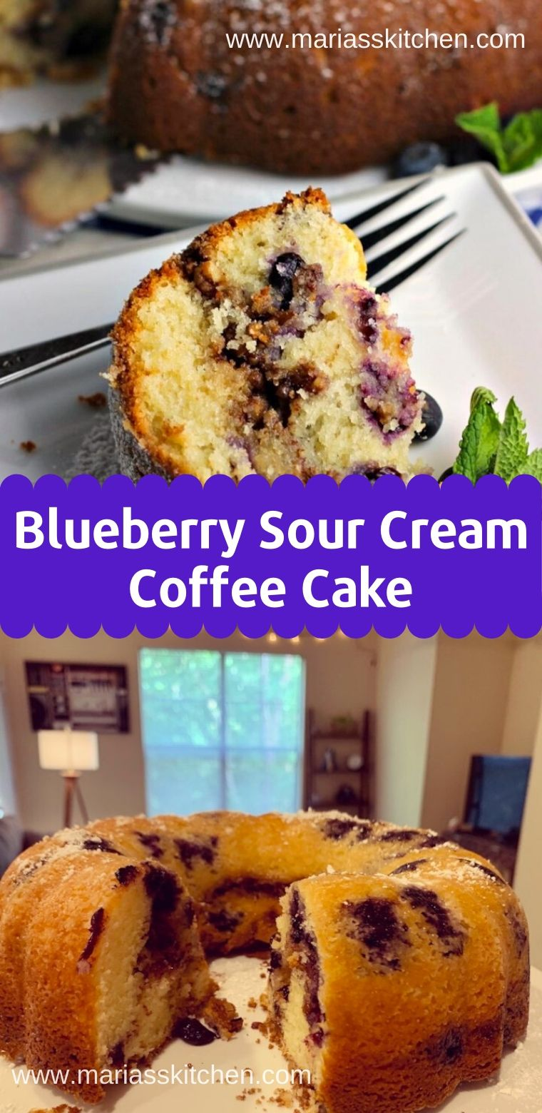 Easy Blueberry Sour Cream Coffee Cake Recipe Maria S Kitchen Coffee Cake Recipes Easy Sour Cream Coffee Cake Sour Cream Recipes