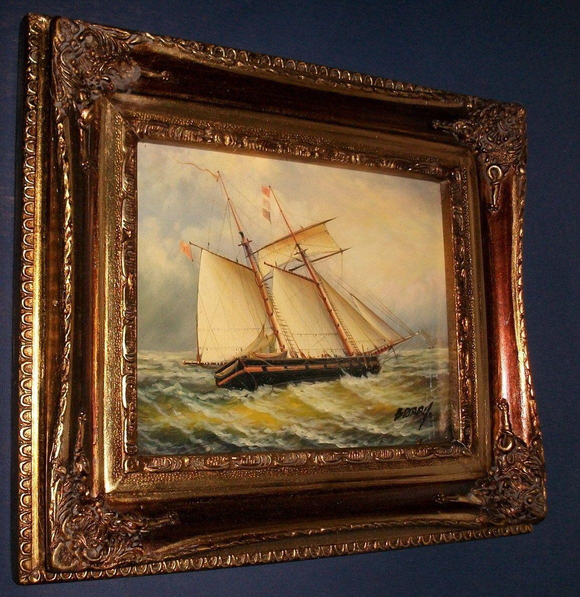Ölgemälde-Gemälde-Bild-Ölbild-Segler-Segelschiff-Segelboot-Rahmen-Barock de.picclick.com