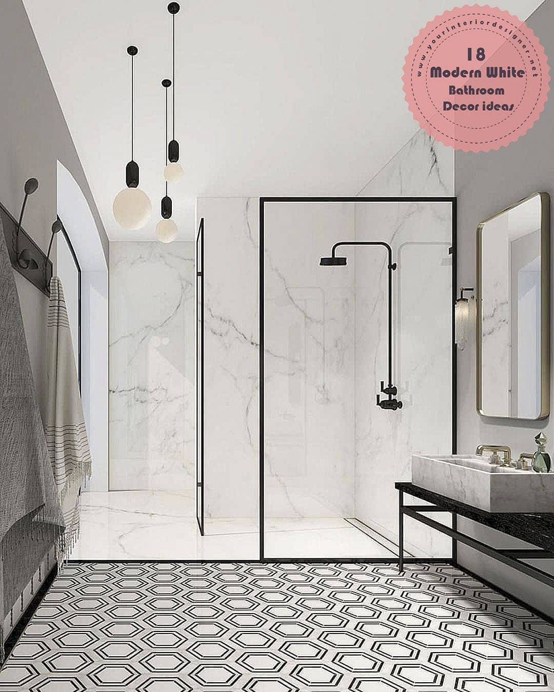 18 White Bathroom Decor That Will Refresh You When You Look At Them Your Interior Designer In 2020 Monochrome Bathroom White Bathroom Inspiration Black White Bathrooms