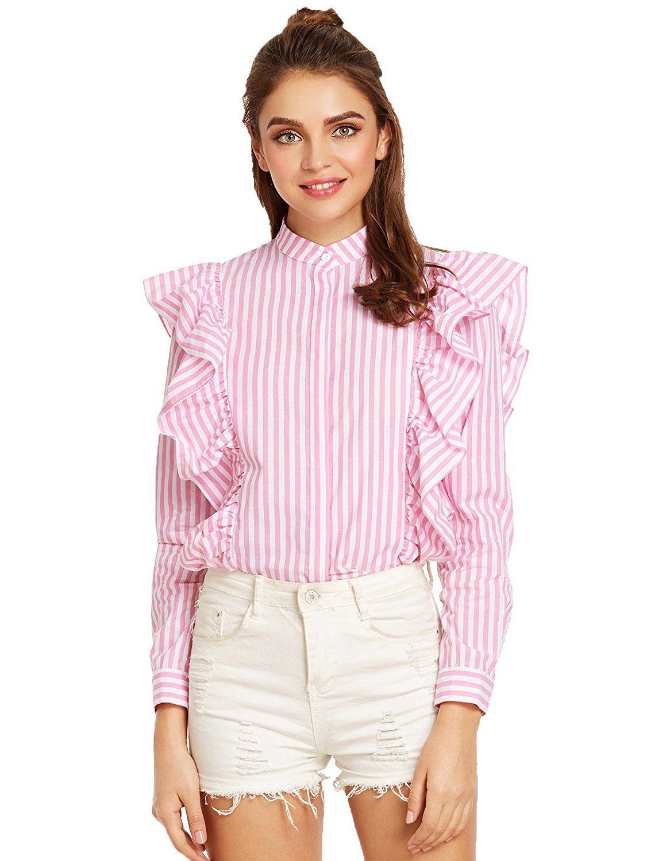 fdd02248faa975 SheIn Women's Striped Ruffle Button Front Long Sleeve Blouse at Amazon  Women's Clothing store:
