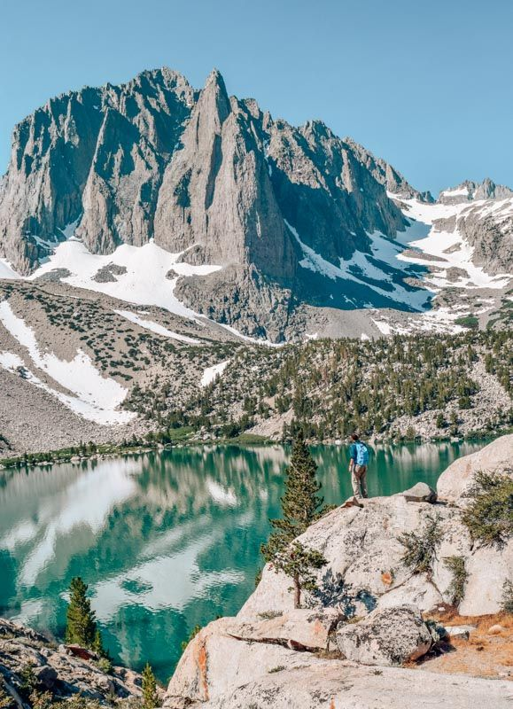 Palisade Glacier rising above a glacial lake on the Big Pine Lakes trail near Bishop, California in the Sierra Nevada mountains.