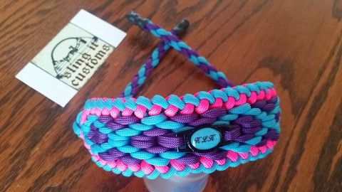 Turquoise and CottonCandy  Bow Paracord Wrist Sling Strap Archery W// Leather