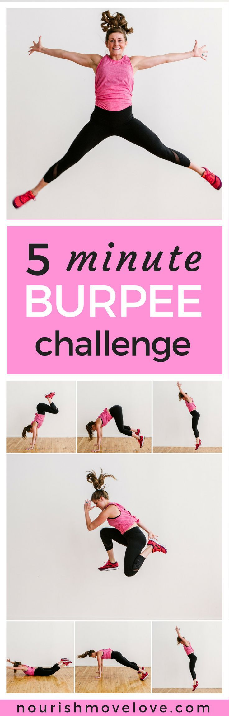 5 Minute Burpee Challenge | burpee I burpee challenge I burpees how to do I workouts for women I workout challenge I Nourish Move Love II #burpees #workoutchallenge #workouts