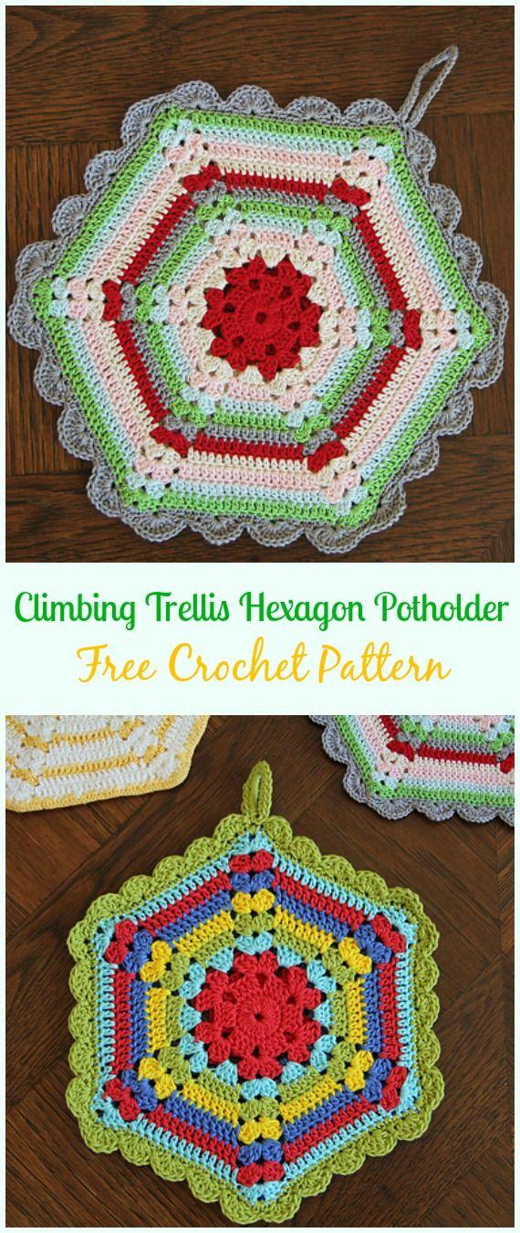 Vintage Crochet Climbing Trellis Hexagon Potholder Free Pattern ...