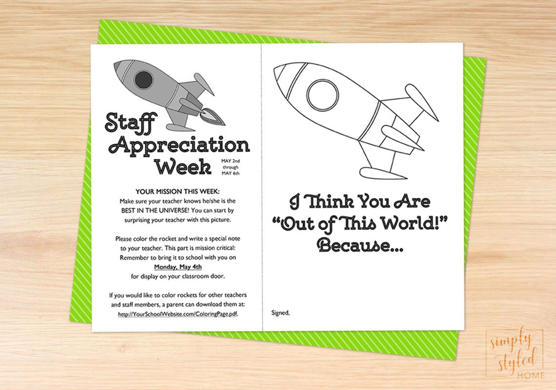 Space themed coloring sheet for staff appreciation week