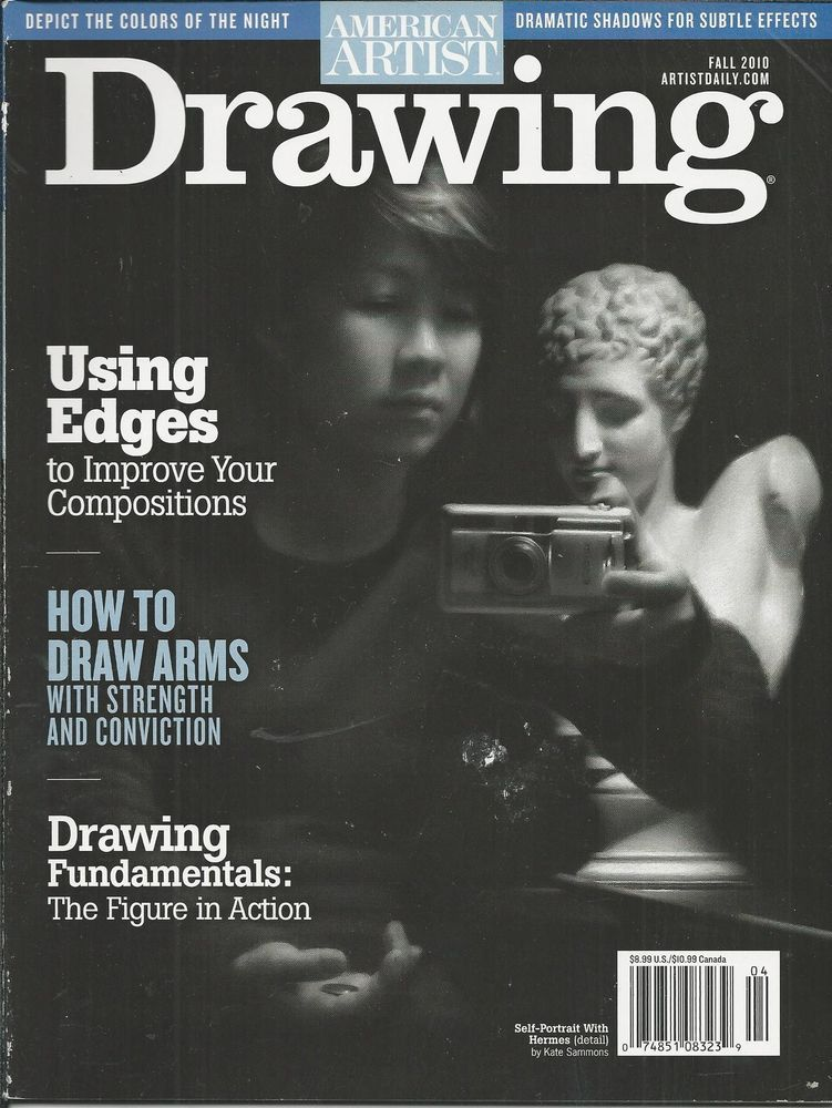 American artist drawing magazine edges compositions draw arms figure in action