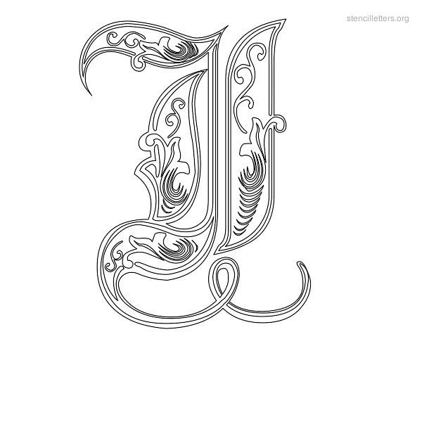 Stencil Letter Decorative I  Jades World    Stencil