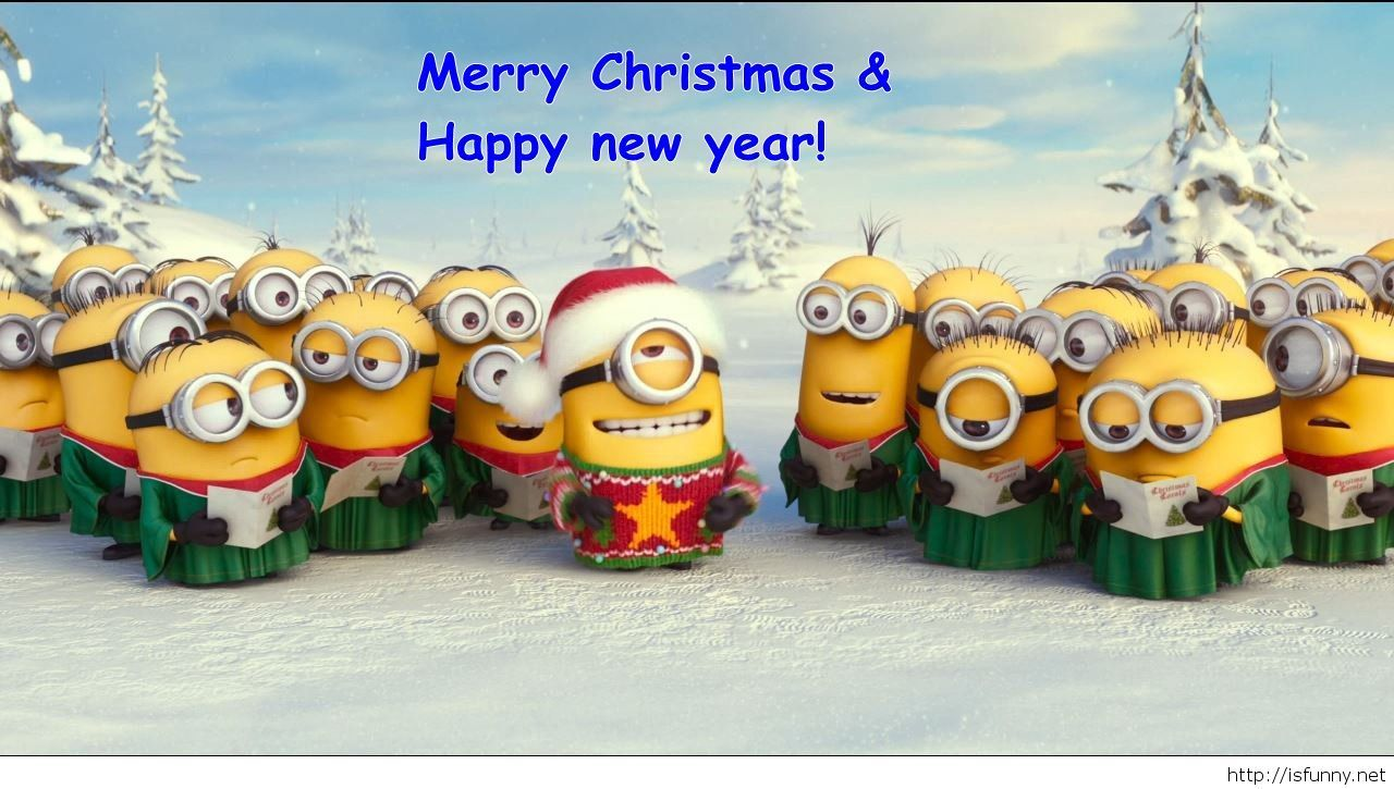 Funny Minion Merry Christmas Wallpapers Sayings: Wallpaper Minions Happy New Year Funny 2015