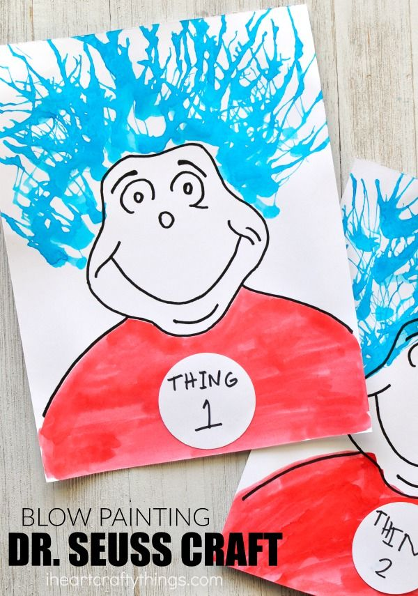 this thing 1 and things 2 blow painting dr seuss craft is a perfect dr seuss kids craft for the cat in the hat and read across america day