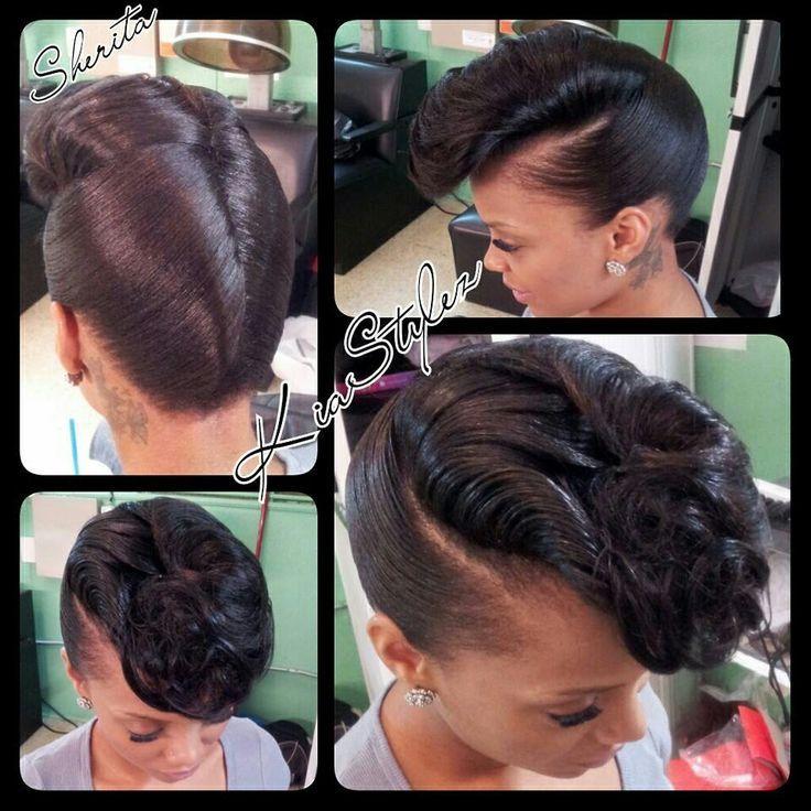 Formal Updos For Medium Length Relaxed Hair Black Hair Natural Hair Styles Hair Styles Relaxed Hair