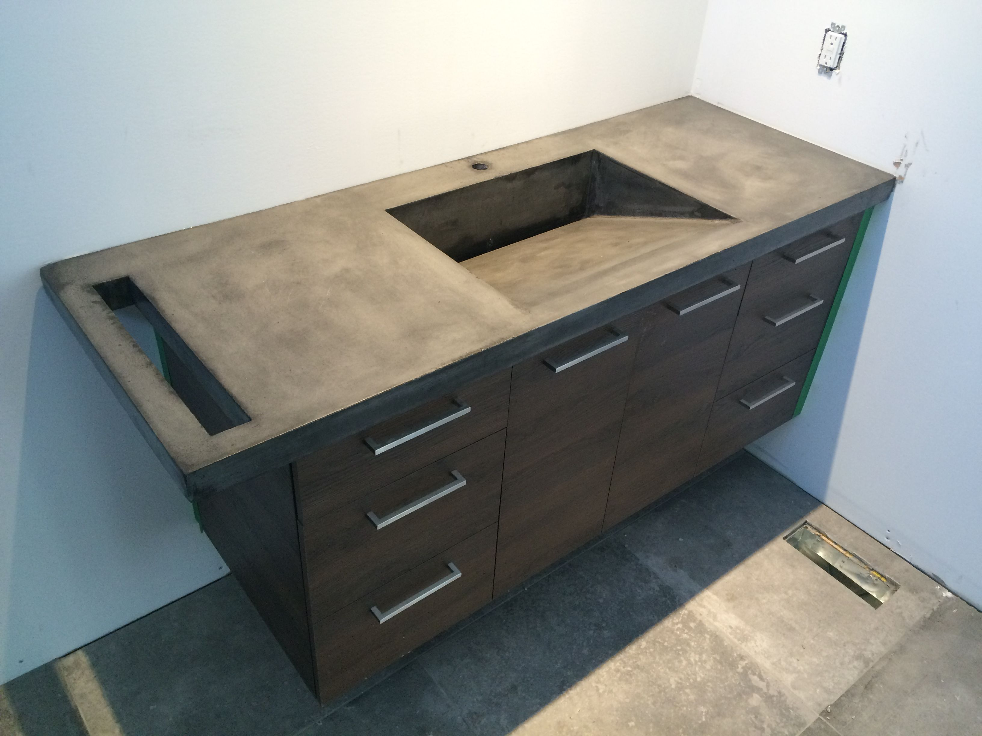 Concrete Angled Vanity Sink Top Pente With Towel Space Luxe 67