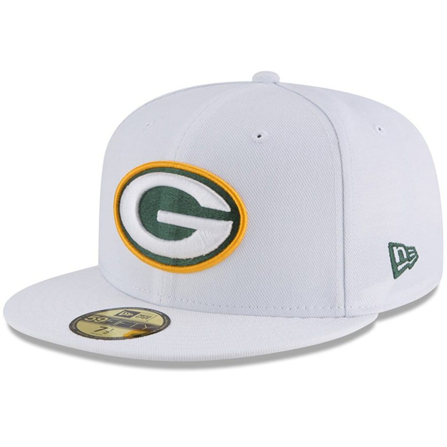 differently popular brand low cost Men's New Era White Green Bay Packers Omaha 59FIFTY Fitted Hat in ...