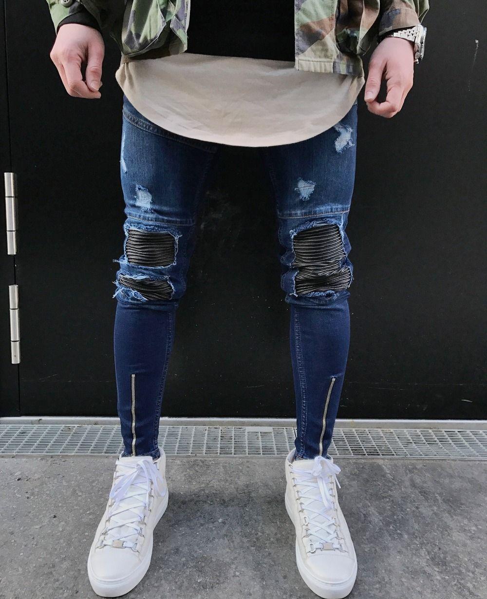 f58ad386b30a7 Aliexpress.com  Comprar Azul Cremallera Dobladillo Stretch Rodilla biker  Jeans Rasgados Agujero Hombres de La Cadera hop marca de ropa pantalones  skinny ...