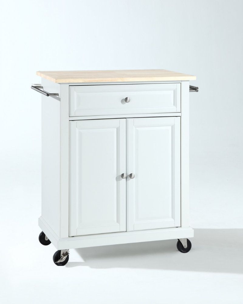 Natural Wood Top Portable Kitchen Cart/Island In White