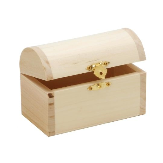 Unfinished Treasure Chest Style Hinged Wood Box By Darice