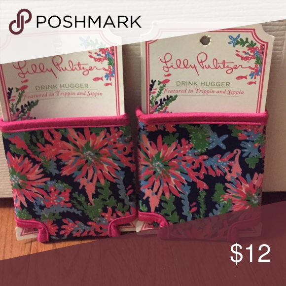 Lilly Pulitzer koozies Brand new drink koozies! Navy blue and pink with flower designs. Lilly Pulitzer Accessories